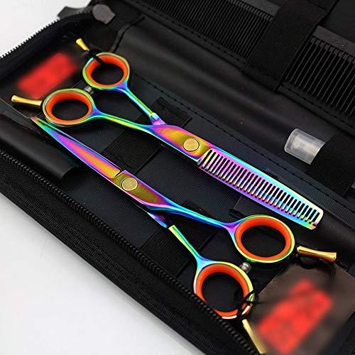 JIAJ Hair Clipper Set di Parrucchieri Professionali a Due Code da 5,5 Pollici Set di Forbici da Parrucchiere Set di Forbici a Denti Piatti (Colore : Colors)
