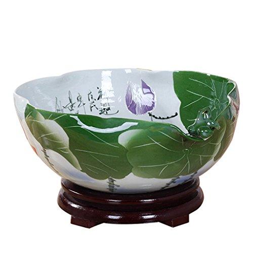 Pot de fleurs BOBE Shop en céramique de Grand diamètre avec Plateau de Narcisse sans Trous Pot de Plantes de réservoir de Poissons (Taille : 40 cm)