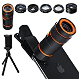Cell Phone Camera Lens Kit,6 in 1 Universal 12x Zoom Telephoto Lens+0.62x..