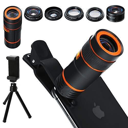 era Lens Kit, 6 in 1 Universal 12x Zoom Teleobjektiv+0,62x Weitwinkel&20x Makro+235 ° Fisheye+Starburst Objektiv+CPL+Stativ für iPhone X/8/7/6/6S Plus Samsung Android und Telefon ()