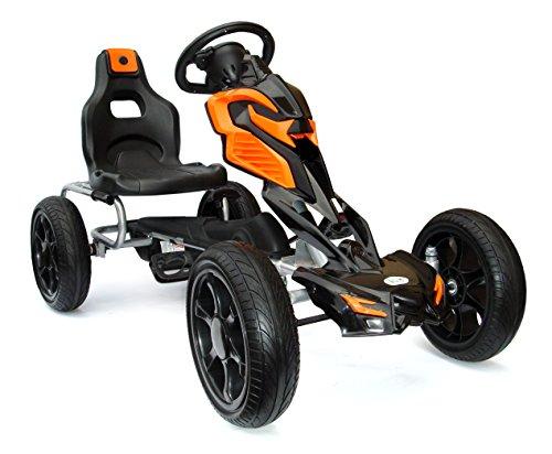 JOY 4KiDS # scout pédale pour enfants kart, voiture de course, chariot à pédale, pneus eva 5-12ans orange