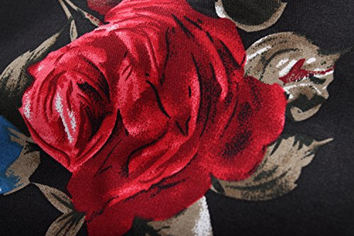 SSLR Chemise Casual Homme Manche Courte Slim Fit à Fleurs Rose Imprimé Noir