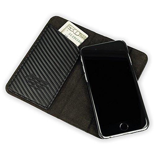 """QIOTTI >             APPLE iPHONE 7 PLUS / 7S PLUS (5,5"""")             < incl. PANZERGLAS H9 HD+ 2-in-1 Booklet mit herausnehmbare Schutzhülle, magnetisch, 360 Grad Aufstellmöglichkeit, Wallet Case Hülle Tasche handgefertigt  CARBON"""