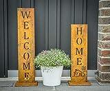 ''Welcome + Home'' - Edelrost Ständer von SteelTastic ★ 2 er Set ★ Perfekte Rost Deko für den Garten, Hauseingang oder Terrasse ★ Premium Qualität ''Made in Germany''