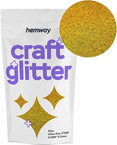 Hemway Glitzerpulver zum Basteln 100g, ultrafein, 0,2 mm, Gold Holographic