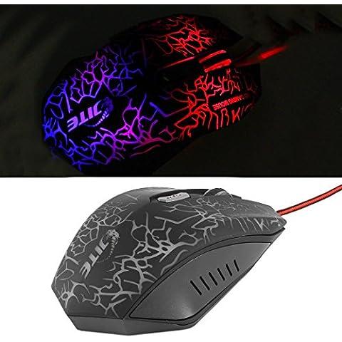 2000DPI ajustable colorido del USB LED Ratones con cable óptico ratón del juego 6D