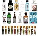 Gin Geschenk-Set 2018 - komplettes Set mit Gin-Miniaturen, Botanicals und Gin Buch