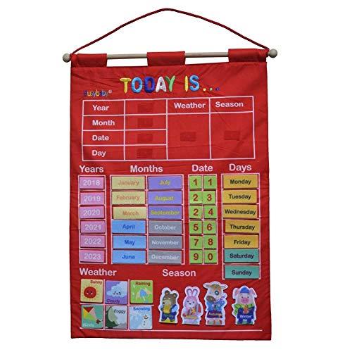 Hangarone Infant Teaching Aid, Pädagogisches Spielzeug Tuch Lernen Englisch Brief Wetter Datum Saison Kalender Teaching Tool Kalender Wetter Tasche Diagramm Hängen Tasche 43,5X63,5 cm -