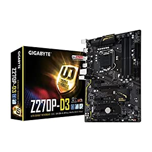 Gigabyte GA-Z270P-D3 7/6th Generation Motherboard - Black (Intel Core i3/i5/i7 Processors, LGA 1151, Dual Channel DDR4, USB 3.1, PCI-E 3.0, PCI-E x1, SATA 6 GB, USB2)