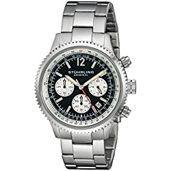 Stuhrling Original Men's Quartz Watch with Black Dial Analogue Display and Silver Stainless Steel Bracelet 669B. 01