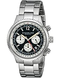 Stuhrling Original Men's Quartz Watch with Black Dial Analogue Display and Silver Stainless Steel Bracelet 669B.01
