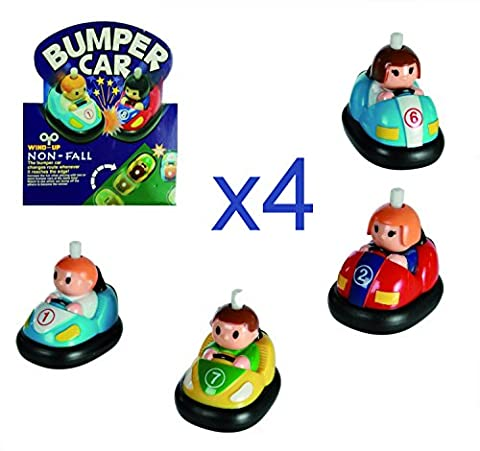 4X Childs Classic Wind Up Toy Bumper Car with Anti