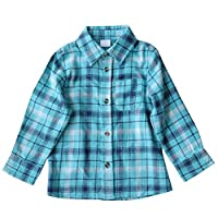 Bebone Kids Plaid Long Sleeve Flannel Shirt (Green, 5T)