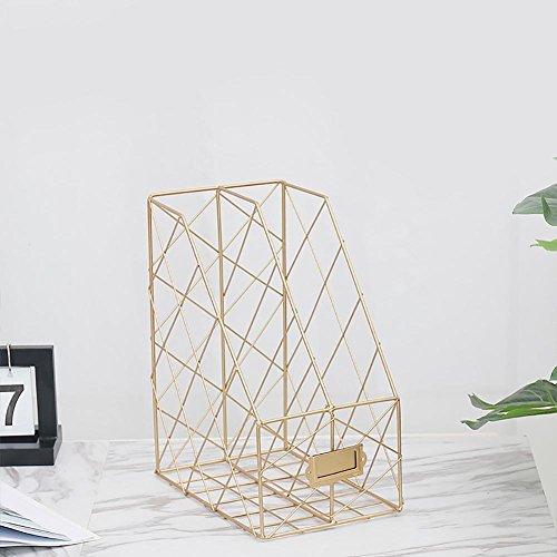 Mesh Multifunktions Magazin Halter Datei Rack, 2-Teilige Büro Desktop Ablage Datei Teiler Schrank Dokument Tablett Organizer Box Gold -