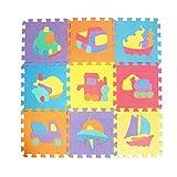 Kinder Baby Soft Foam Spielmatte Puzzle Play Vorleger bunt Soft ungiftig Puzzle Schaumstoff Boden Fliesen und Spielzeug Tiere Fahrzeuge Anzahl Krabbeln Mat.