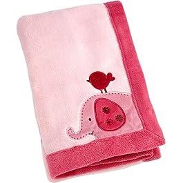 Raspberry Jungle Aufnäher Coral Decke, Rosa Baby Decke mit Elefanten