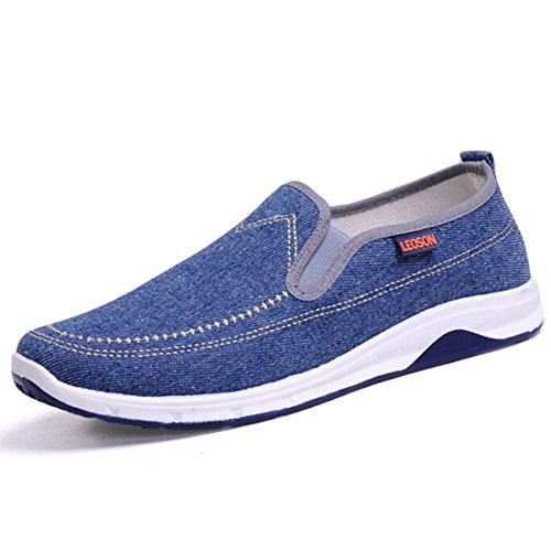 Men's Peking Comfortable Slip On Canvas Shoes Light Blue