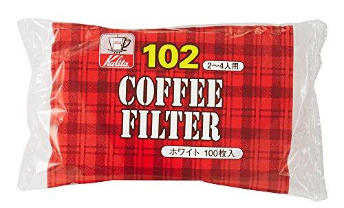 White Paper Filter (Kalita Paper Coffee Filter 102 Size White 100 sheets by Kalita Coffee Filter)