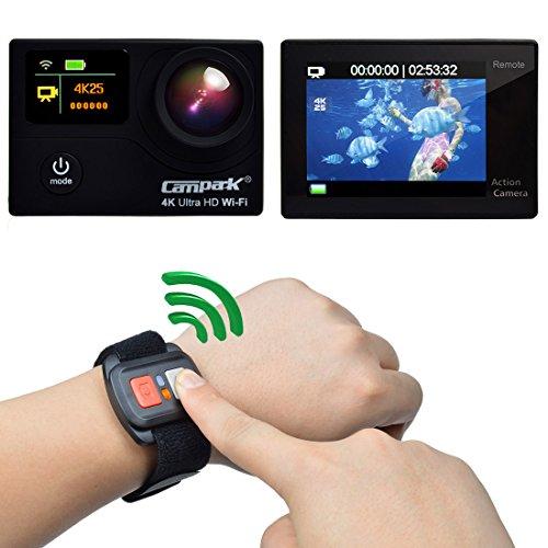 Campark® Caméscope sportif 4K/1080p WIFI Double Ecran Ultra HD Etanche, 170 degrés 12 Mégapixels Télécommande,Mode Timelapse