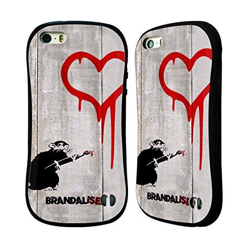 Offizielle Brandalised Liebe Ratte Banksy Kunst Street Tag Hybrid Hülle für Apple iPhone 5 / 5s / SE (Liebe Ratten)