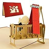 Karte zur Geburt, elegante Glückwunschkarte als Geschenk für ein Baby, Baby Geburt Karte, Kinderwiege, rot, Pop-Up Karte, Baby cards, G09.1