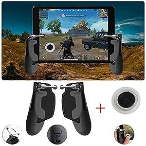 Tsocent PUBG Mobile Controller für iPad, Mobile Game-Controller mit Game Joystick, verbesserte Version H7, 180° drehbar, Trigger-Gamepad für 11,5-12,9 Zoll Tablet & Android iOS Handy schwarz/rot