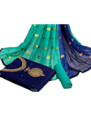 Special Designer Finished khatli Handwork With Moti And Mirror Work Chanderi Cotton Salwar Suit With Heavy Dupatta (BLUE)