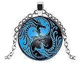 Leonor  Joli Collier Pendentif Dragon Yin Yang  Médaillon Cabochon, Collier Mode...