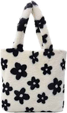 KANUBI Umhängetaschen, Plüschhandtaschen, Handtaschen, Blumenkupplungen, flauschige Handtaschen, Geldbörsen unter den Armen, Umhängetaschen, süße Damenhandtaschen mit Blumenmuster, Handtaschen