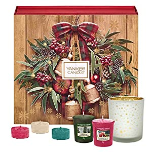 Yankee Candle Advent Calendar Gift Set with 12 Scented Votive Candles, 12 Scented Tea Lights and 1 Votive Holder, Festive Book Gift Box
