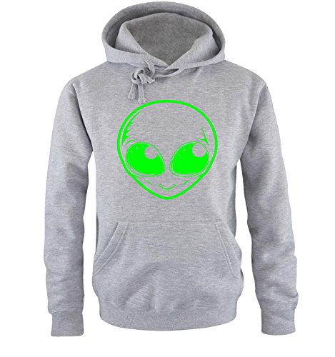 Comedy Shirts - ALIEN - Uomo Hoodie cappuccio sweater - taglia S-XXL different colors grigio / neon verde
