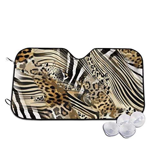 Auto-Frontscheibe Auto-Sonnenschutz African Wild Animal Leopard Zebra Windshield Sun Shade Sunshades Foldable Keep Vehicle Cool Sun Heat UV Ray Visor Protector for Cars SUV Truck