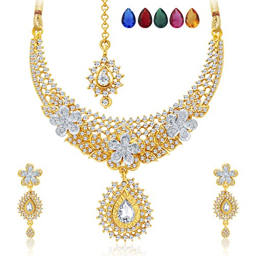 Sukkhi Stunning Gold and Rhodium Plated AD Necklace Set with Set of 5 Changeable Stone For Women  available at amazon for Rs.569