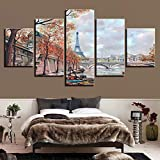 jjshily Decor Living Room Wall Printed Artworks Landscape5 Pezzi Parigi Tower Bridge Paintings Art Quadri modulari Poster su Tela, 40X100
