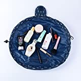 Makeup Bag Toiletry Kit Organizer Portable&Waterproof Large Cosmetic Pouch Fashion Women Jewelry Bathroom Storage with Zipper and Drawstrings Brush Holder Carry on Travel … (Depp Blue)
