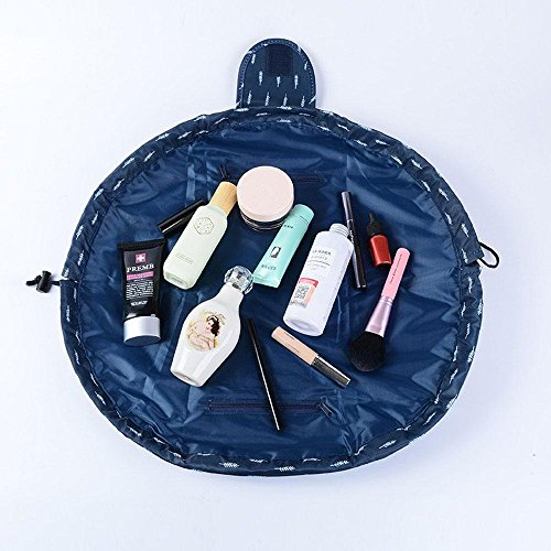 Makeup Bag Toiletry Kit Organizer Portable&Waterproof Large Cosmetic Pouch Fashion Women Jewelry Bathroom Storage with Zipper and Drawstrings Brush Holder Carry on Travel … (Depp Blue) (Womens Carry On)