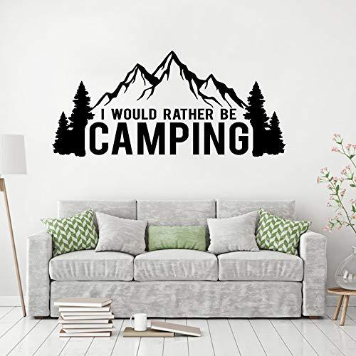 zxddzl Autofenster Aufkleber Camping Liebhaber Wandaufkleber Ich Wäre Eher Camping Zitat Vinyl Wandbild Berg Und Bäume Aufkleber AY1735-52x114cm