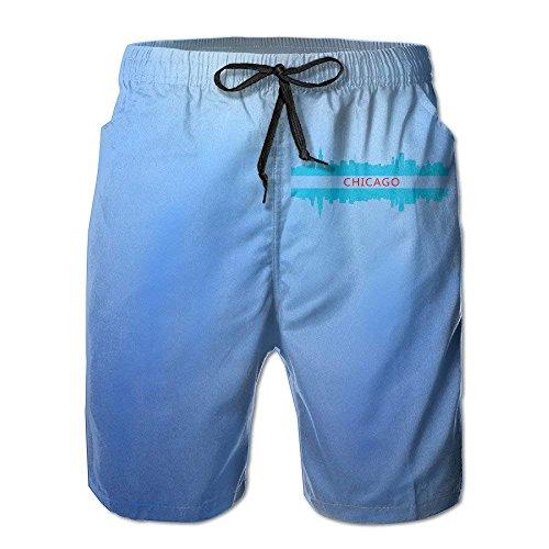 Jiger Chicago City Skyline Design Quick Dry Beach Board Shorts Swim TrunksXXL Chicago Board