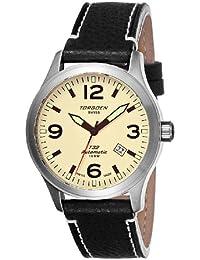 Torgoen T32101 - Reloj analógico automático para hombre, correa de cuero color marrón