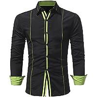 WWricotta Camisetas Hombre Manga Larga Rayas Color de Hechizo Slim Fit Streetwear Casual Negocio Camisas Formales