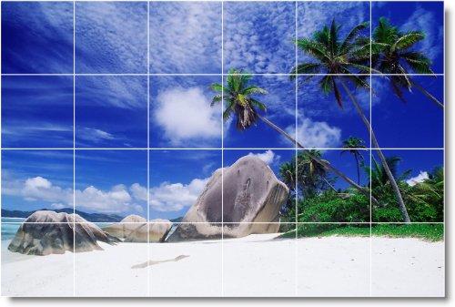 PLAYA FOTO SPLASH TILE MURAL B110  24X 36PULGADAS CON (24) 6X 6AZULEJOS DE CERAMICA