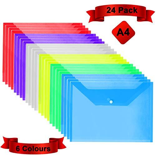 Dokumentenmappe mit Druckknopf A4 - Transparente Dokumententasche A4 in 6 verschiedenen Farben- Sichtmappe - Wasserfeste Sammelmappe für staubfreie Dokumente, Zertifikate, Tickets (24 Stück) - Ordner-verschluss Brief Größe