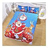 CSYPYLE Bettwäsche-Sets Kreative Cartoon Weihnachtsmann Muster Schlafzimmer Bettbezug Bettlaken Kissenbezüge Set, 210 cm X 210 cm