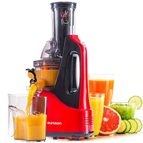 Oursson JM7002, Extracteur de Jus de Fruits et Légumes avec Tarière, Technologie de Pressage à Froid, 1 litre, 240 Watts, (Rouge)