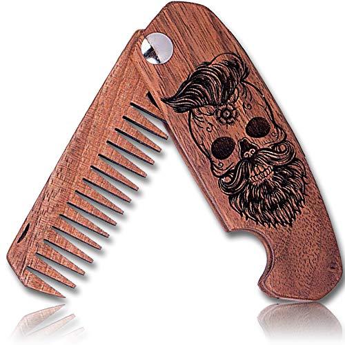Bartkamm Holz Klappbar Taschenkamm klappkamm antistatische Bartpflege bart kamm aus holz holzkamm (MRG08)