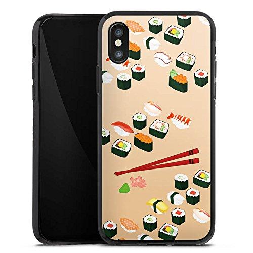 Apple iPhone X Silikon Hülle Case Schutzhülle Sushi Essen Fastfood Silikon Case schwarz