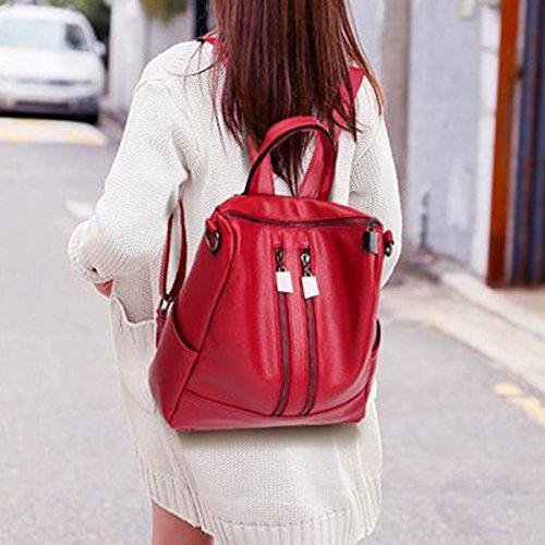 Le Donne Della Moda Laptop Zipper Zaino PU Tracolla In Pelle Borsa Zaino Multicolore Red