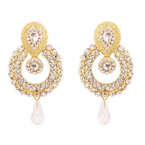 Touchstone indischen Bollywood Old Polki Kundan Optik Schmuck Pretty Design Ohrringe in Antik Gold Tone