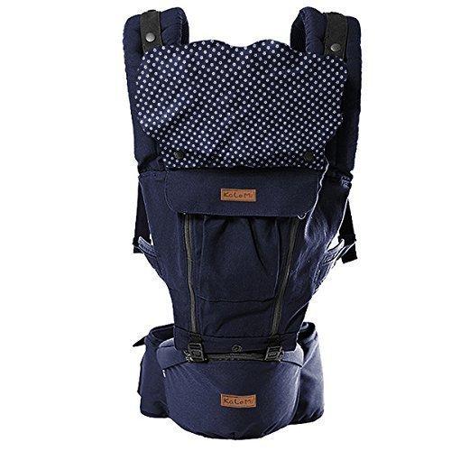 HappyCherry® Für 3-48 Monate Baby Bauchtrage Kindertrage Rückentrage Komfortbabytrage mit Sitzfläche - Dunkelblau