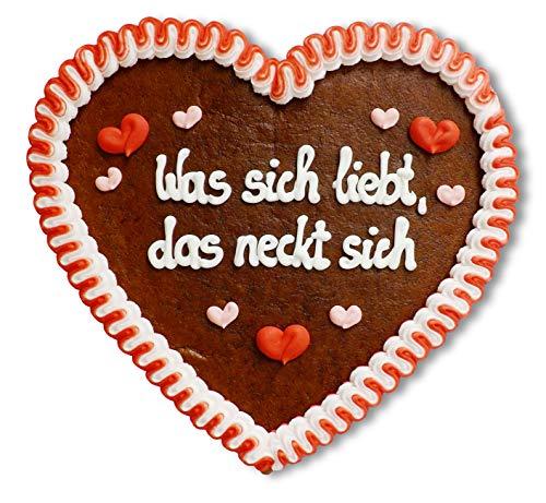 Lebkuchenherz 23cm mit Spruch - Was sich liebt, das neckt sich   Deko Geschenke   Herzdeko mit Sprichwort   Liebessprüche für die Wand   Lebkuchenherzen günstig online kaufen von LEBKUCHEN WELT